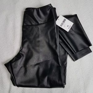 Forever 21 black leather look leggings size medium